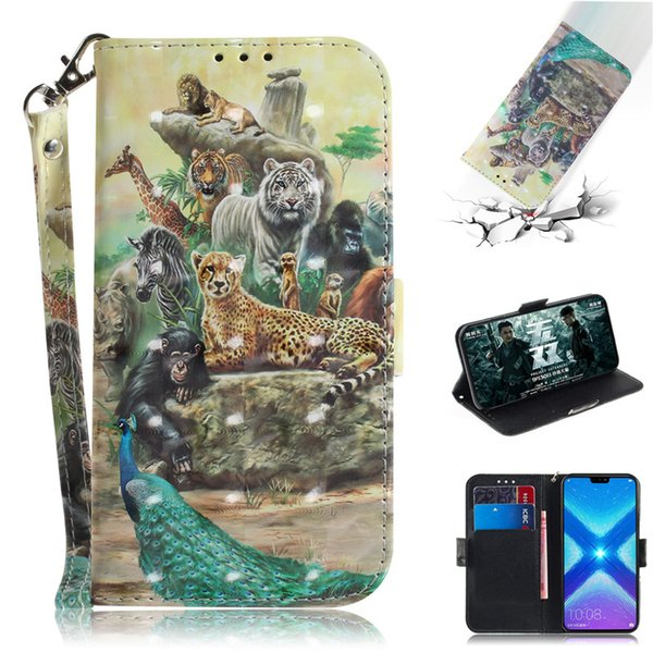 Flip Cover Phone Bags For Huawei Honor 8X Case 3D Painting PU Leather Soft Silicon Wallet Covers Cases Coque