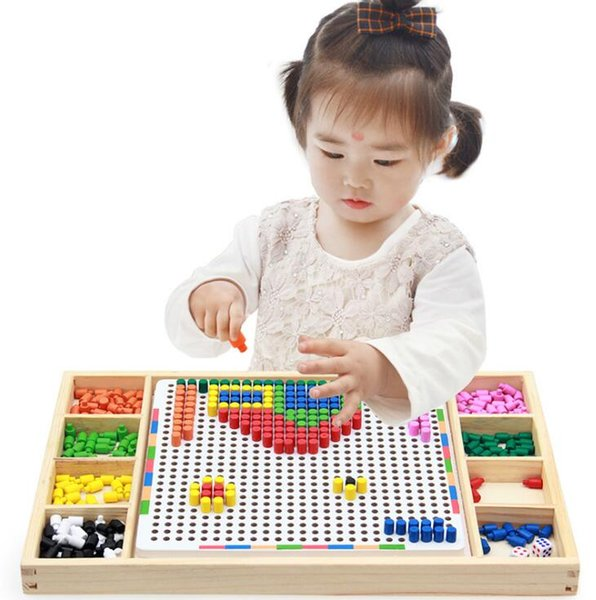 Wooden Mushroom Nail Puzzle Flying Chess Creative Mosaic Pegboard Kids Children Educational Toys - 40*25*3CM