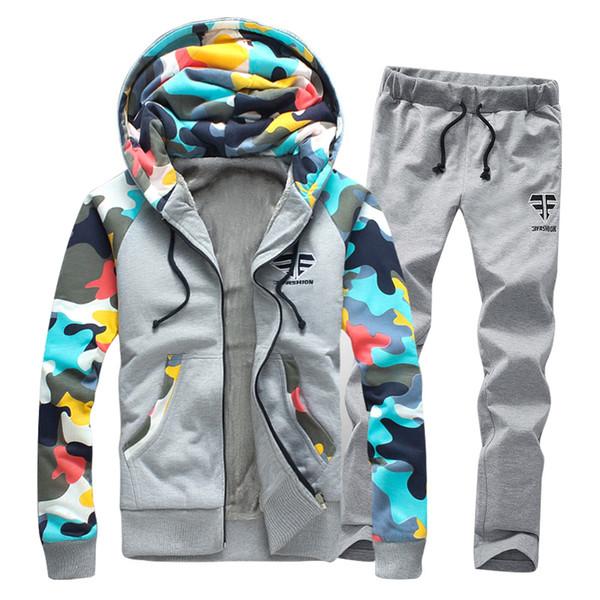 Moda de camuflaje patchwork invierno grueso cálido sudaderas con capucha hombres Casual sudadera hombres Parejas con capucha cremallera chándal conjuntos F1390