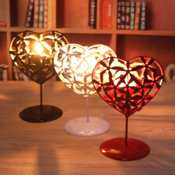 Wholesale Metal Heart Shape Candle Holder Home Decor Bar Iron Candlestick Festival Candleholder Hollow Heart Tools Kitchen Accessories