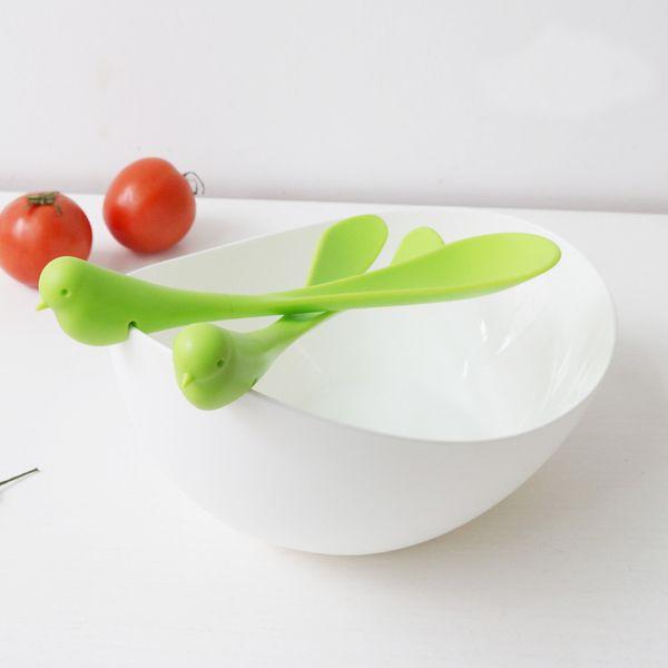 Ciotola di insalata di plastica cucchiaio forchetta Set piatto di frutta semi piccolo spuntino piatto di caramelle ciotole di frutta secca cucina creativa gadget 3pcs / set LJJO5188
