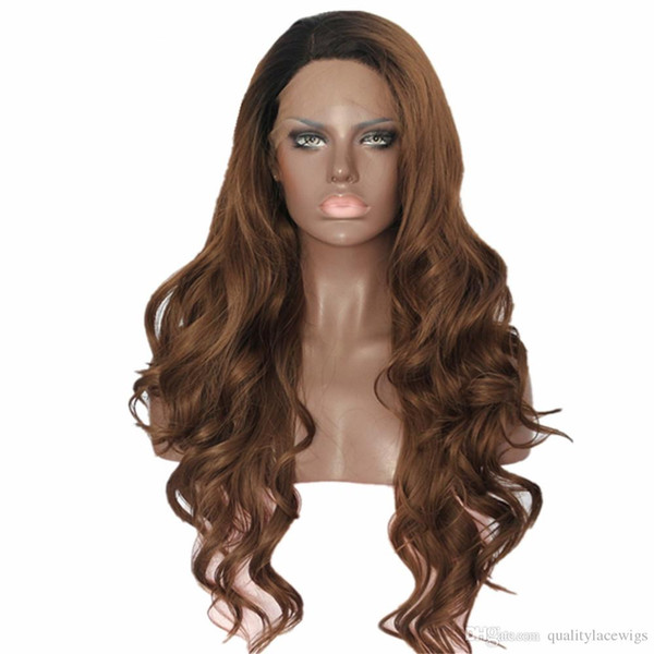 High Quality Black Ombre Brown Body Wave Fiber Hair Heat Resistant Hand Tied Cosplay Synthetic Lace Front Party Wigs For Black Women