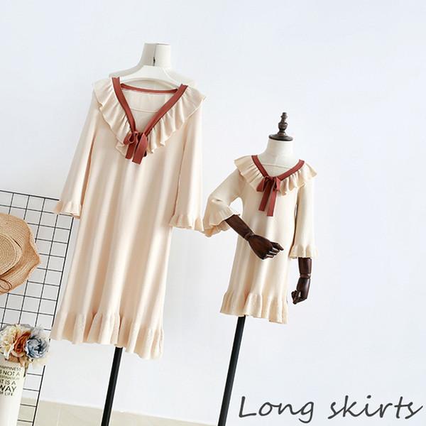 2 à 16 ans filles manches trois-quarts tricoté robes à volants, vêtements de mode pour enfants, boutique pour enfants enfants, R1AA806DS-24
