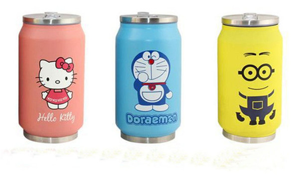2018New cartoon stainless steel pop cans thermos cup Kitty duo cola cans creative men and women cups