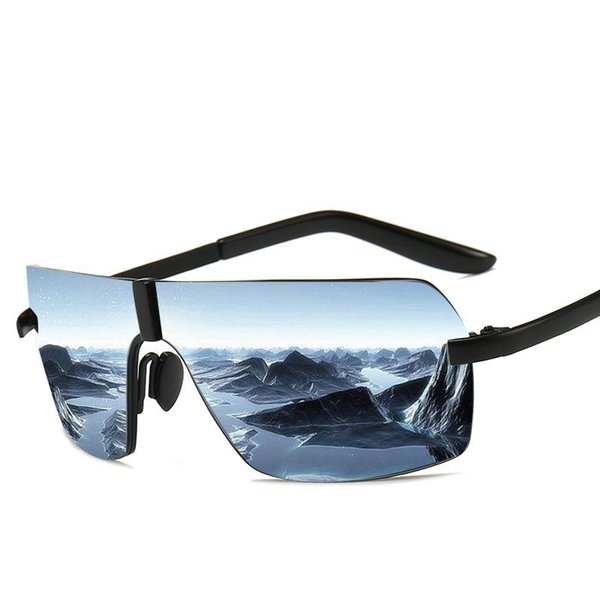 d1ebf4257 MINCL/ 2018 Futuristic One Piece Sunglasses Men Oversized Square Rimless  Polarized Sun Glasses Black Shades