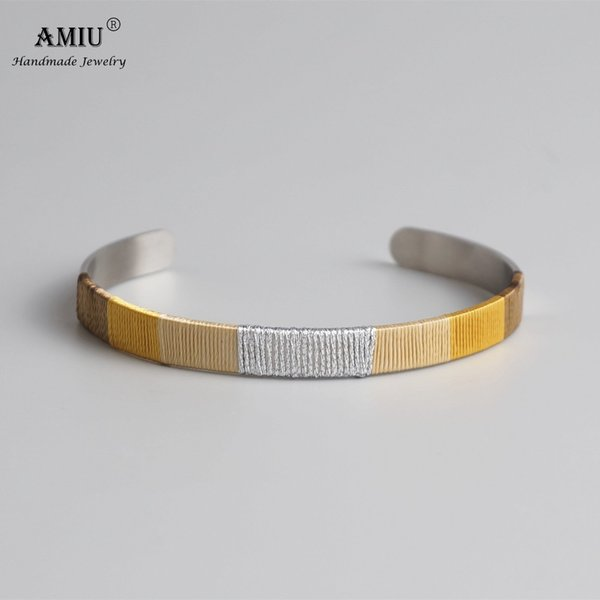 AMIU Stainless Steel Love Cuff Handmade Winding Silver-Color Thread Trendy Round Open Knot Cuff Bangle Bracelets For Women