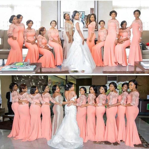 Vestidos de dama de honor de coral africanos más vendidos para niñas negras medias mangas de encaje satinado Scoop Neck vestidos de fiesta de boda largos