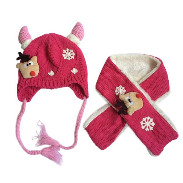 eb8d49867a5 Children Sun Beach Cute Fashion Caps Horns Baby Hat Scarf Set Baby Girls Cap  Autumn Winter