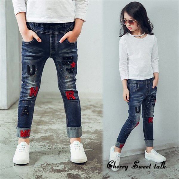 reliable quality great deals online here Female Child Jeans, Spring And Autumn Embroidery Letter Children Pants  Girls Casual Trousers, For Age 3 5 7 8 10 12 14 Years Old Ripped Jeans For  ...