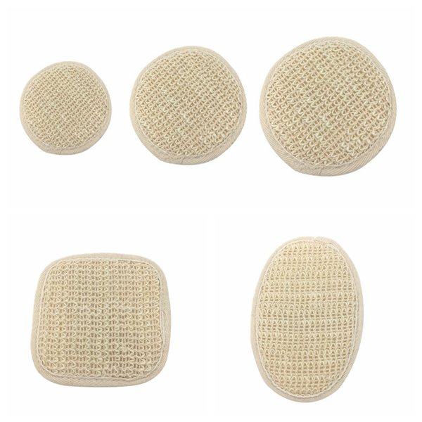 best selling Natural Plant Cambric Fiber Pad Back Brush Shower Sponge Soft Exfoliating Natural Cambric Fiber with Terry Cloth