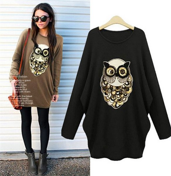 O-Neck Spring Owl Sequin T Shirt Women Casual Blusa Oversized Shirts Womens 5XL Plus Size Tops Femme Punk Rock Fashion Tee Shirt