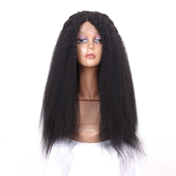 24inch Lace Front Wigs Long Kinky Straight Wig Heat Resistant Synthetic Wigs for Women Black Color Wig