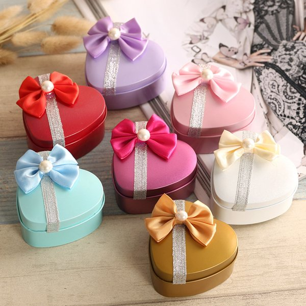 100pcs Heart Shape Metal Tin Candy Box Romantic Wedding Birthday Christmas Favor Bowknot Sweets Jewelry Boxes gift Wrap wa4132