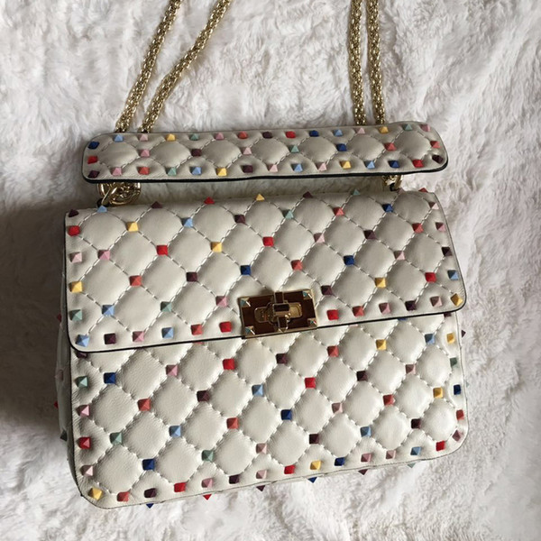 2018 new fashion handbag shoulder bag sheepskin gold rivet white rivet valentines rivet rockstuds small blank red rainbow candy colors