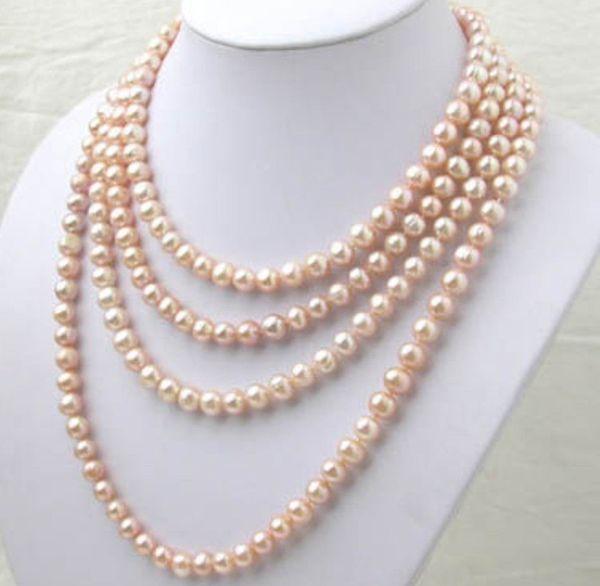 ¡Hermoso! 7-8MM Collar de perlas Akoya rosa natural largo 100 ''