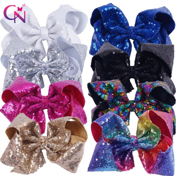 8 Pieces Lot 8 Sequin Hair Bows With Clips For Kids Girls Handmade Large Bling Rainbow Sequin Bows Hairgrips Hair Accessories Headwear