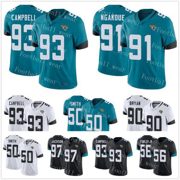 Jacksonville Jaguars Jersey # 93 Calais Campbell 91 Yannick Ngakoue 90  Tavan Bryan 56 Dante Fowler