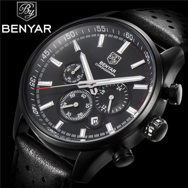 BENYAR Men Watch Chronograph Waterproof Sport Genuine Leather Mens Wrist Watches Top Brand Luxury Military Army Man Clock 5108