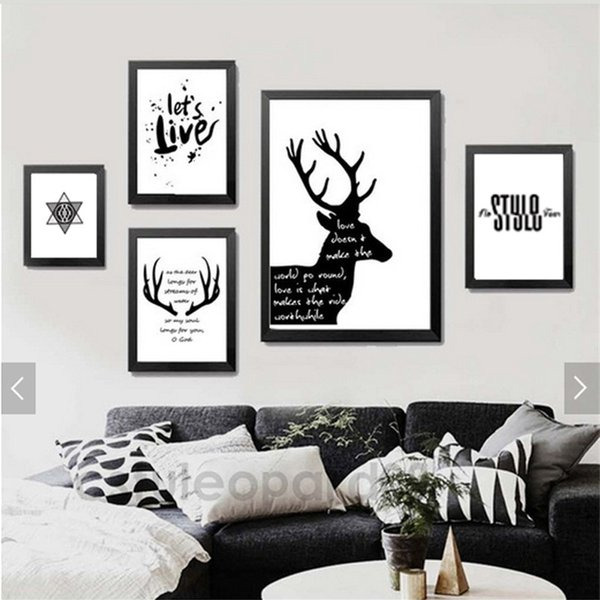 Triptych Modem Minimalist Black Nordic Style Paintings Deer Wall Picture Decor Canvas Painting For Living Room Home Decoration