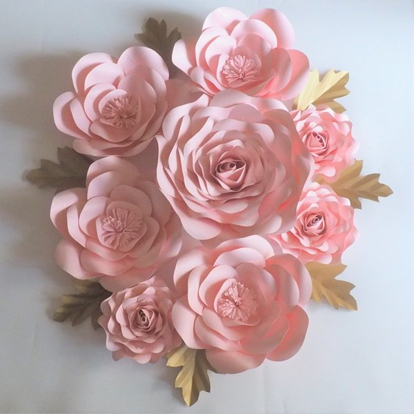 Baby Pink Giant Paper Flowers Rose Backdrop 8PCS + Leaves 7PCS For Wedding & Event Baby Nursery Baby Shower Handmade Roses