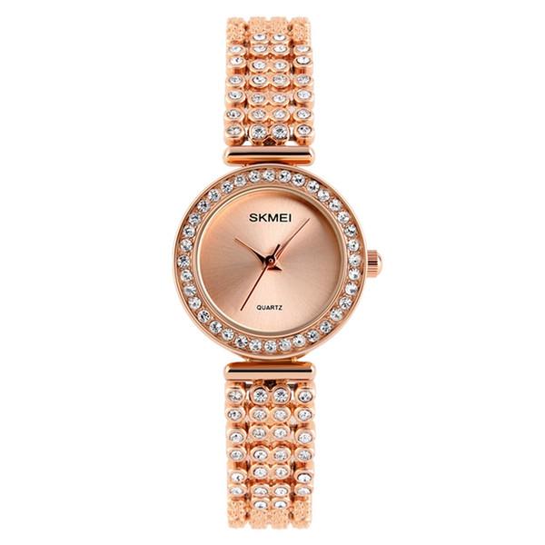 SKMEI 1224 женщины Кварцевые наручные часы классический бриллиантовый браслет девушка 30 м водонепроницаемый мода роскошные женские часы Relogio Feminino