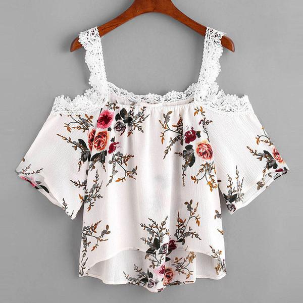 Femmes Floral Print en mousseline de soie chemises Floral Casual évider Off épaule Blouse 2018 Dentelle Summer Tops