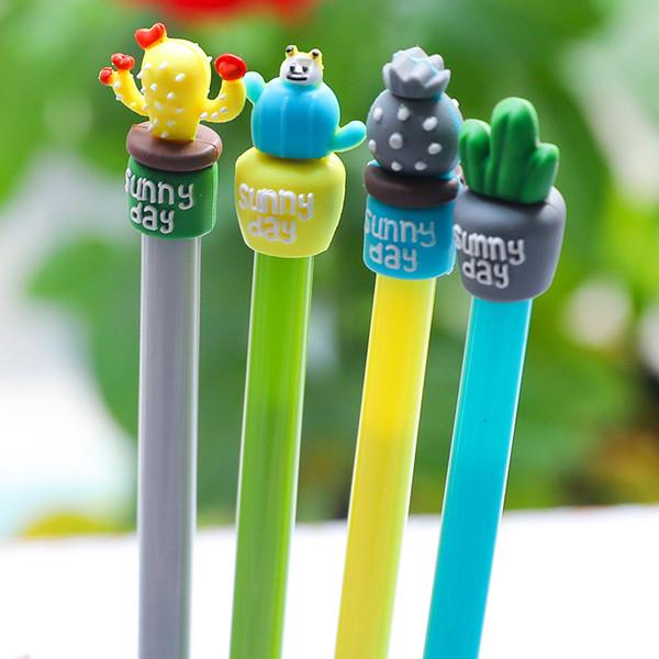 12pcs/set Creative Cute Cactus 0.5mm Black Ink Gel Pens Writing Office School Kids Girls Supplies Kawaii Korean Stationery
