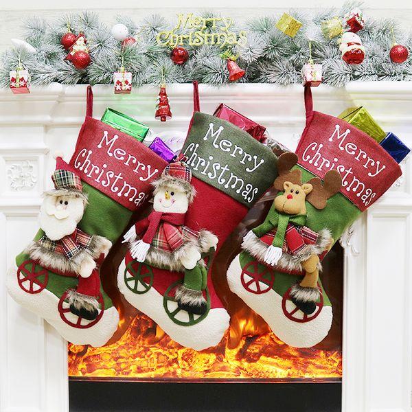 Nouvelle arrivée bas de Noël chaussettes père Noël cadeau sac bonbons sacs bonhomme de neige Elk arbre de Noël ornement suspendu pendentif décorations de Noël