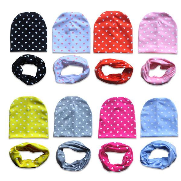 Cotton Children Hats Spring Autumn Winter Baby Warm Hat Scarf Set Child Skullies Caps Boys and Girls Kids Beanies Collar bonnet
