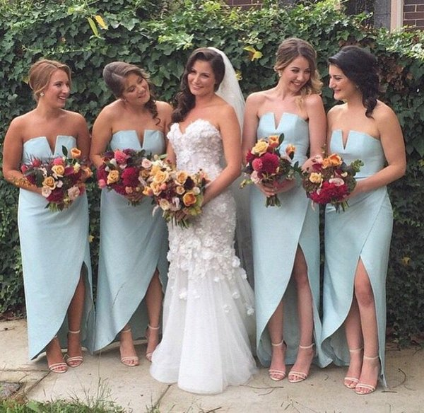 Light Blue Bridesmaid Dresses 2018 Strapless Long Satin Side Split Maid of Honor Gown