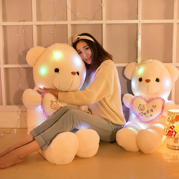 Teddy Bear Doll Creative Inductive Plush Toys Colorful Stuffed Lovely LED Glowing Gifts For Kids Christmas Hot Sale 15bd YY