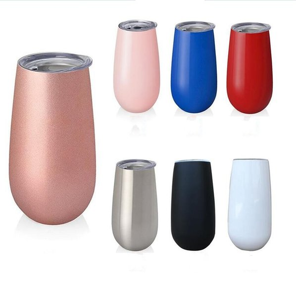 6oz Flute Egg Cup Wine Glass Stainless Steel Kids Tumblers Double Wall Vacuum Insulated Stemless Mug with Lid 7 Color