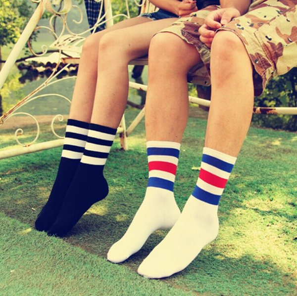 Wholesale-Fashion 1Pair cotton 3-tripes unisex Cotton stripe socks Men Boy Baseball Football Soccer Basketball Sport Ankle Mid Socks Casual