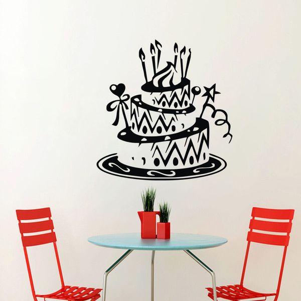 Birthday Wedding Decoration Cake Wall Stickers Home Decor Interior Adhesive Vinyl Wall Decals For Kitchen