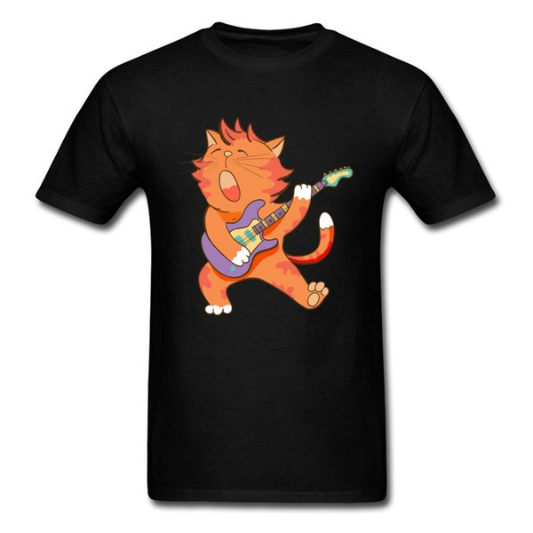 Street Tshirts Men Tops Shirt Tees O Neck Cotton Fabric Dabbing Cat Kitten Dab Serenade Funny Guitar