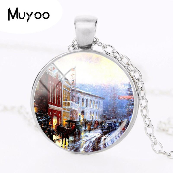 2018 New Christmas House Necklace Round Silver Glass Dome Pendant Hand Craft Jewelry Art Necklaces Gifts Friends