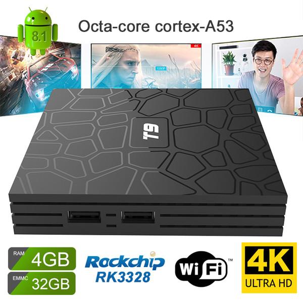 Octa çekirdek android tv kutusu 4 GB 32 GB T9 Rockchip RK3328 android8.1 akıllı tv kutusu 4 K Ultra video akış medya oynatıcı Dijital Ekran medya kutusu
