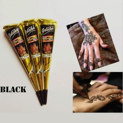 Noir Indien Tatouage Au Henné Pâte Art Corporel Peinture Mini Naturel Indien Tatouage Pâte De Henné Dessin Tirage Temporaire Sur Le Corps CCA10128 500 pcs