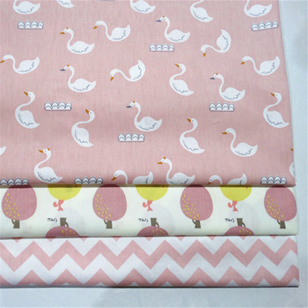 Baby cygnet/tree/pink wave print 100%cotton fabric 10yards/lot tomo183