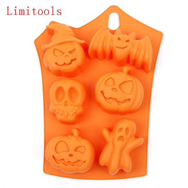 Limitools Halloween Holiday Pumpkin Cake Mold 6 Cavities Pumpkin Ghost Bat shape Chocolate Molds DIY Cake Decorating Tools