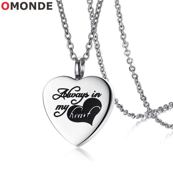 OMONDE Women Love Heart Perfume Bottle Pendant Necklace Always in My Heart Stainless Steel Cremation Ashes Memorial Jewelry for Female