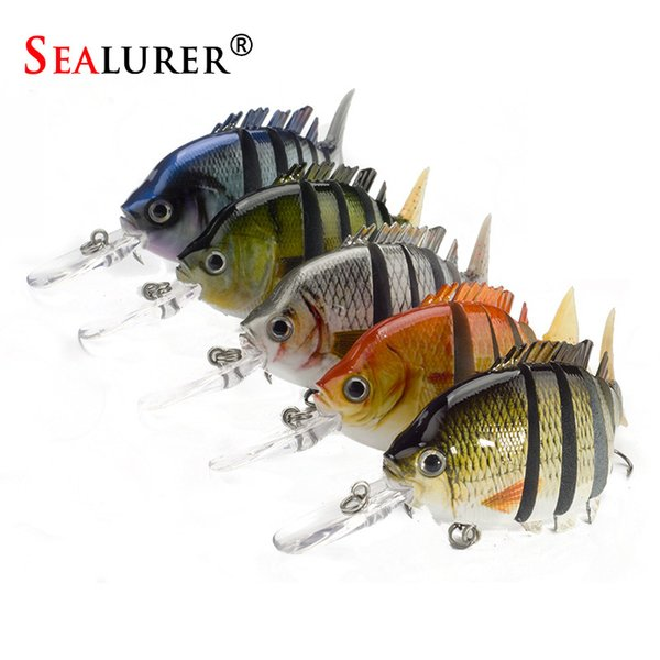 8cm/13.4g Lifelike 6 Segements Jointed Sections Bass Fishing Lure 5 pcs/lot Hard lure Fishing Tackle