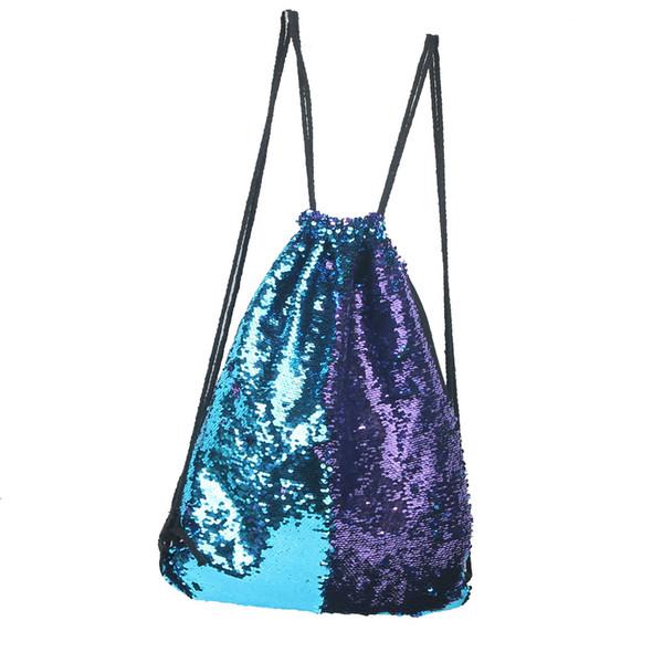 Популярные Drawstring сумка ремешок обшитый панелями двойной цвет блестки унисекс drawstring сумки ремни для рюкзака Bolsas Feminina