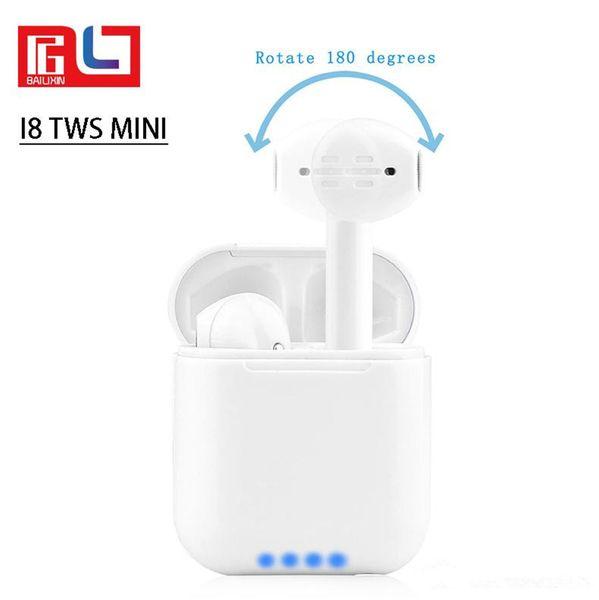 EUB I8 Mini 180° Wireless Bluetooth Headset Outdoor Sport Mini Headphones high-quality with Portable charging box Universal