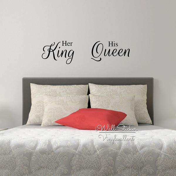 Großhandel Ihr König Seine Königin Zitat Wandaufkleber Liebe Zitat  Wandtattoo Schlafzimmer Wand Zitate Schlafzimmer Dekore Hohe Qualität Cut  Vinyl ...