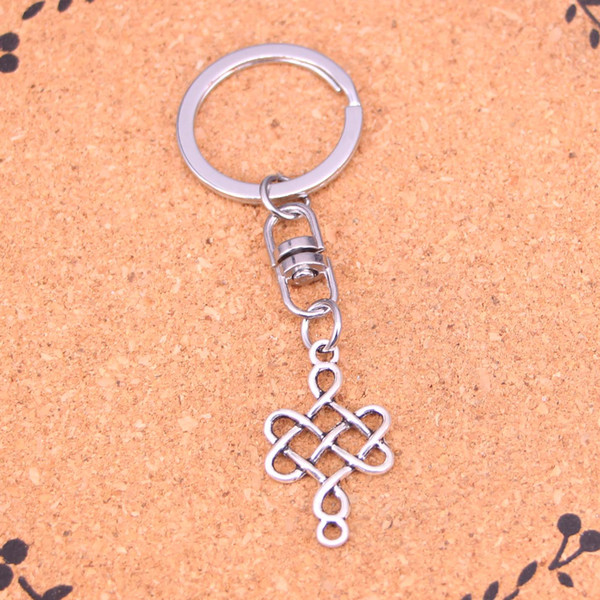New Fashion Keychain 31*18mm chinese knot connector Pendants DIY Men Jewelry Car Key Chain Ring Holder Souvenir For Gift