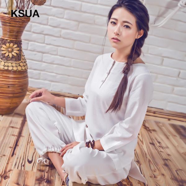 Linho Yoga Camisa Calças Treino de Roupas de Meditação Zen Mulher Sportswear Conjunto Grande Tamanho Ginásio Terno Do Esporte Calças Camisa Conjunto de Yoga