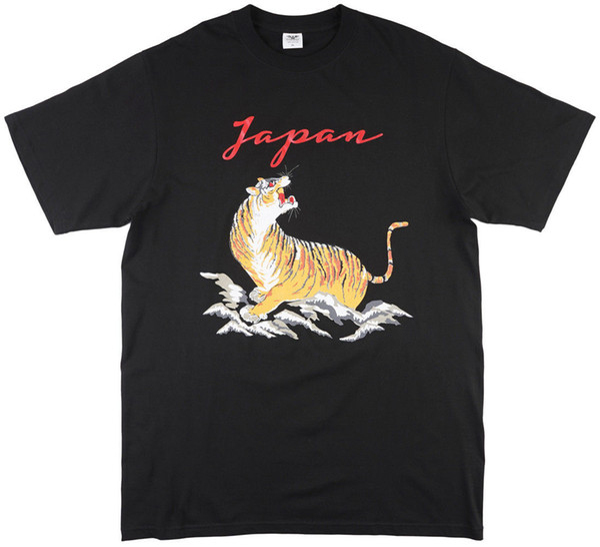 Tradicional japão tigre t-shirt dos homens preto legal verão tees masculino projetando camiseta top tee