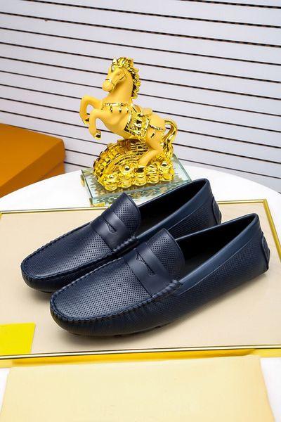 [Caja original] Nuevo estilo Mens mocasines vestido de negocios de cuero de vaca de la vaca Slip-On zapatos Louise Made In Italy Tamaño 38-45