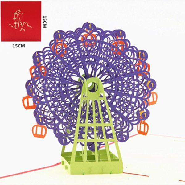 Tarjeta de cumpleaños Felicidad Ferris Wheel Favores creativos de la boda para el regalo de los invitados Bendición 3D Tarjetas de felicitación Fuentes del partido 6 5lz ff